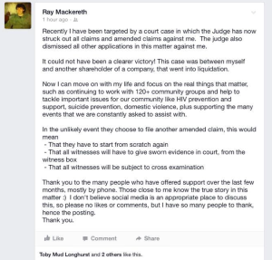 Ray Mackereth's Facebook post from 16 October 2014 that has been dismissed by those in the know at Larcombe's camp as 'delusional'
